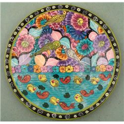 Tropical Birds & Fish Hand Painted Pottery Bowl