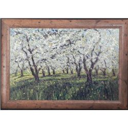 Sammoun Signed Art Print Canvas Apple Orchard Wood Fram