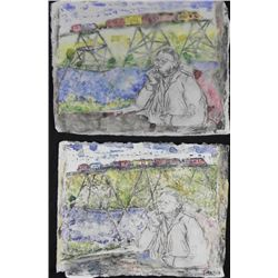 2 Betty Snyder Rees Original Paintings- Man on Train
