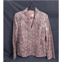 Brandon Thomas Leather Jacket Brown Snakeskn Pattern 12