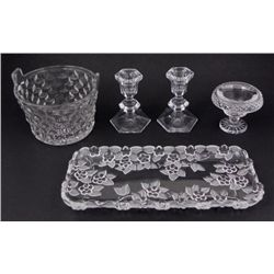 5 Crystal & Frosted Glass Pieces Basket, Bowl, Tray