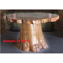 Old Growth Cedar Table with Flared Cedar Base
