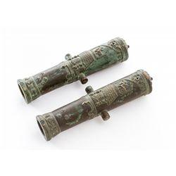 Pair of Sm. Bronze European Cannons