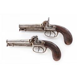 Pr. of English Dbl Barrel Gold-Banded Coat Pistols