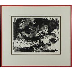Betty Heredia Orig Woodcut Print Frmd- Sea Movement II