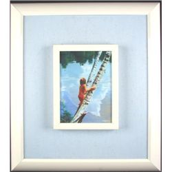 Original Frank Licsko Oil Painting Framed OUT ON A LIMB