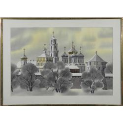 Original Watercolor Painting Cathedral in Russia Frmd