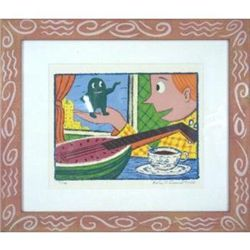 Framed Rodney Greenblat Watermelon Man Serigraph Print