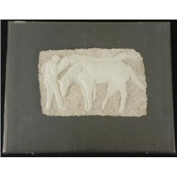 Betty Heredia Original Bas Relief Scultpure Frmd-Horses