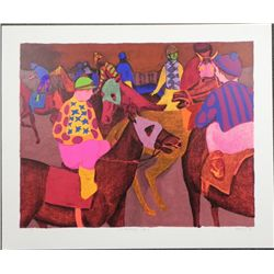 Gustave Likan Signed Horse Race Art Print Warming Up'79