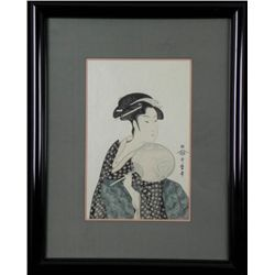 Geisha Portrait Woodblock Print Utamaro Style Framed