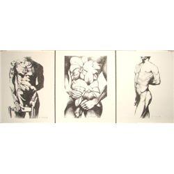 Suite of 3 Male Nude Art Prints Lowell Nesbitt Gay