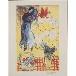 Marc Chagall : Lovers and Daisies Romantic Art Print