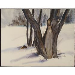 Al Stine Original Watercolor Painting Winter Tree