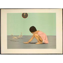 Signed Art Print Girl Playing Skeleton Chickens Detrait