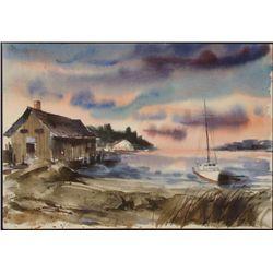 Al Stine Original Watercolor Painting Boat House