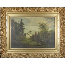 Antique Original 19th Century Landscape Painting Framed