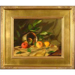 William Chambers Original Painting Copper Pot w/ Fruit