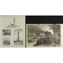 2 Antique Magazine Prints Chicago Fire & Water Tower