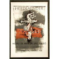 1978 JOHNNY FRIEDLAENER Art Exhibition Poster Mid-Mod