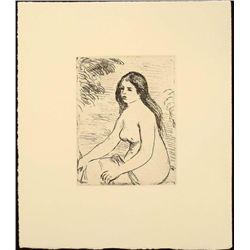 Renoir Etching Art Print - Seated Nude