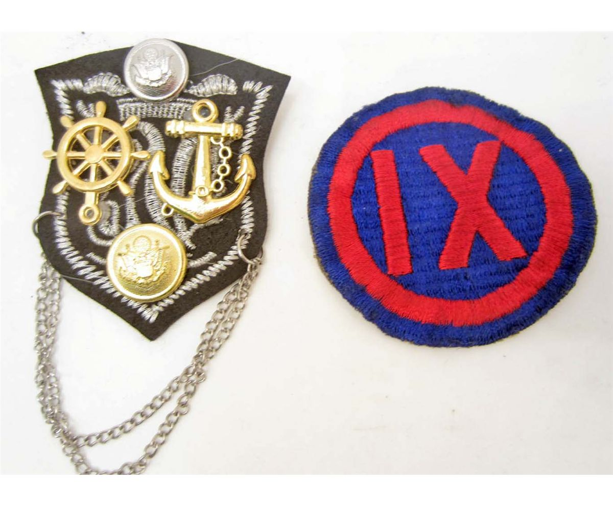 LOT OF 2 PATCHES- WW2 ARMY IX CORPS & NAVY PATCH BROOCH