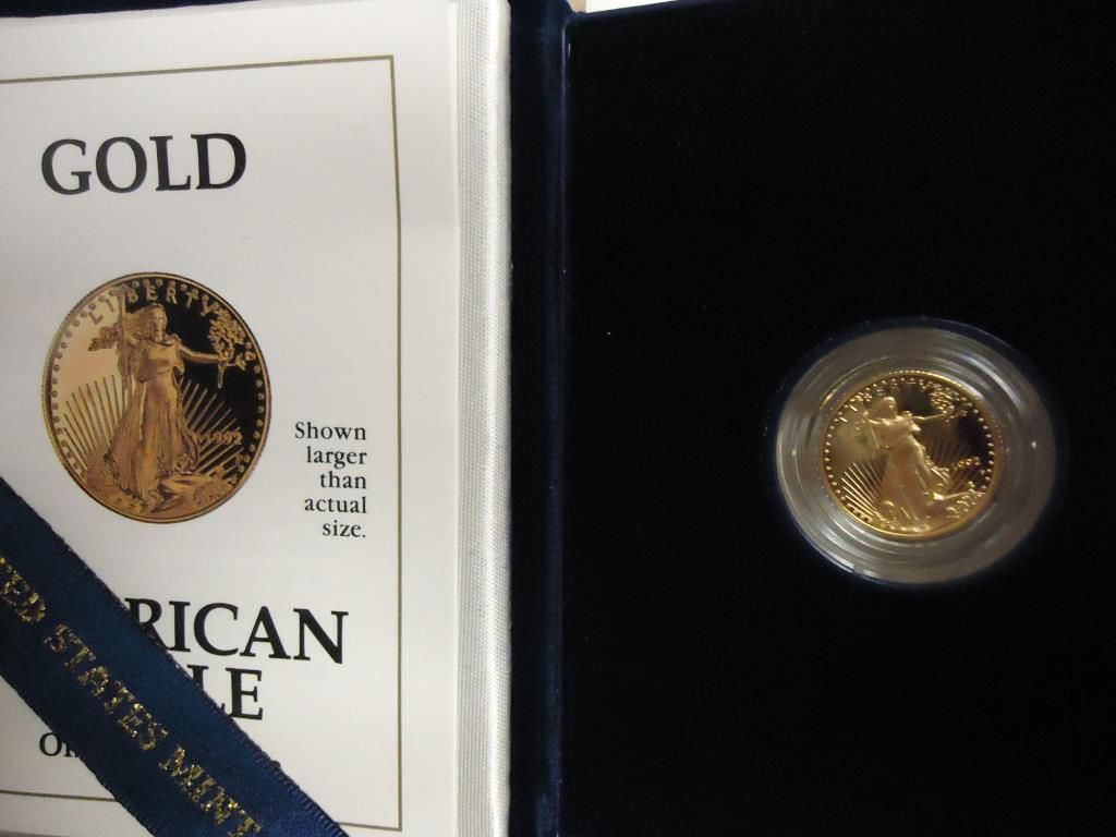 1992 $5 AMERICAN GOLD EAGLE 1/10 OZ  PROOF