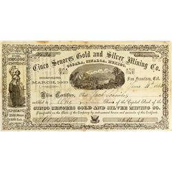 Cinco Senores Gold & Silver Mining Co. Stock Certificate -