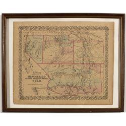 Framed Map of Western States -