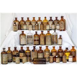 Forty five (45) applied or tooled top drug bottles, c1880-1920 -