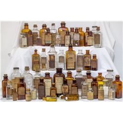 """Sixty Four (64) tooled top drug bottles 3"""" to 9"""" or more tall, c1890-1920 -"""