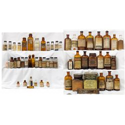 Collection of labeled homeopathic and poison bottles -