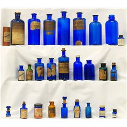 Cobalt labeled medicine and poison collection.  -