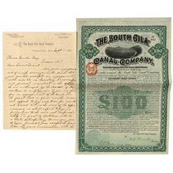 South Gila Canal Company Bond and Letter - Gila, AZ