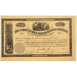 Union League Silver Mining Co. Stock Certificate  - Globe District, AZ