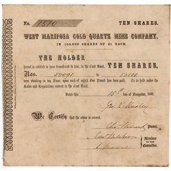 California Gold Rush Stock Certificate -  CA