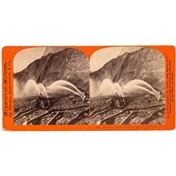 Rare Hydraulic Mining Stereoview Card - Birchville, CA