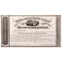 Eureka Quartz Mining Stock Certificate - Grass Valley, CA