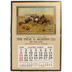 Russell 1939 Broadside Calendar - Red Oak, ID