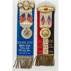 Pair of 1890's Union Ribbons - Silver City, ID