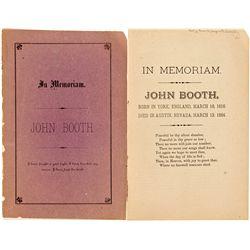 John Booth In Memoriam Booklet - Austin, NV