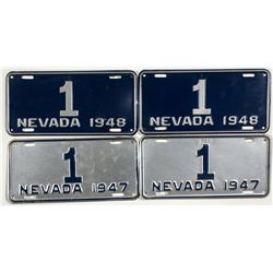 Nevada Licence Plates -Two Sets of Gov. Auto Plates - Carson City, NV