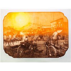 Goldfield Chalk Litho Print - Goldfield, NV