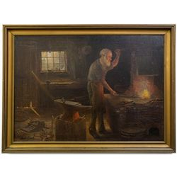 Village Blacksmith, oil on canvas by J.H. Martin, Reno, c1890 - Reno, NV