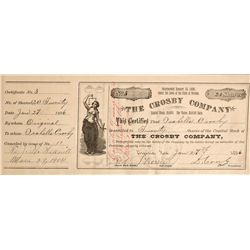 Crosby Stock Certificate - Virginia City, NV