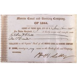 Early Bank Stock of Morris Canal & Banking Co. - New York, NY