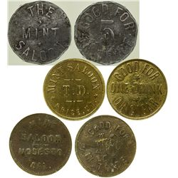 Three Different Mint Saloon Tokens - Goldield, NV
