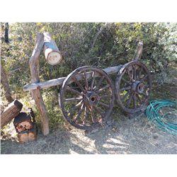 Two Wagon Wheels & Artifacts -