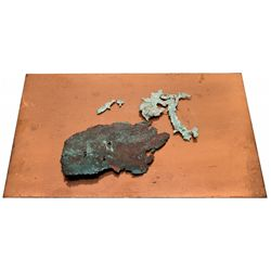 Copper Engraving Plate and Native Copper Leaf Samples -  MI