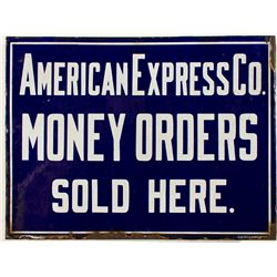 American Express Co. Money Orders Sold Here Railroad Sign -